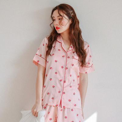 [쿠비카]스트로우베리 투피스 카라형 여성잠옷 WM159