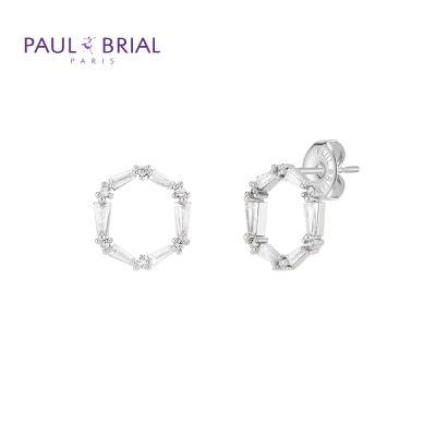 폴브리알 PYBE0096 (WG) 원형 큐빅 귀걸이 大