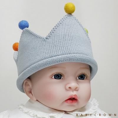 [베이비크라운] 백일 돌 아기왕관 모자 쁘띠 (폼폼 실버)