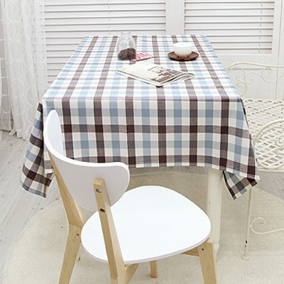 깅엄체크 방수식탁보-핑크민트 6인용 방수식탁보+가방
