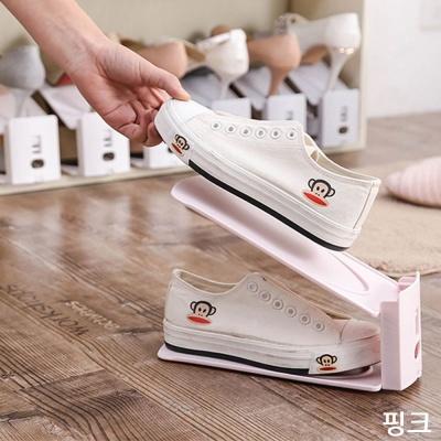 현관 신발장 정리함 슈즈렉 접이식 신발 정리대 pink
