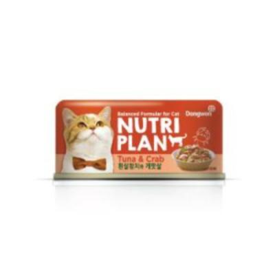 뉴트리플랜 흰살참치와게맛살 160g 고양이 캔간식