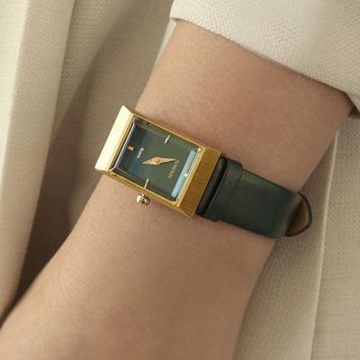 여성 빈티지 가죽 손목 시계 바우스 그리드 그린 골드