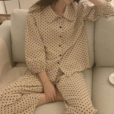 여성 홈웨어 잠옷 세트 파자마 게즈 도트 카라