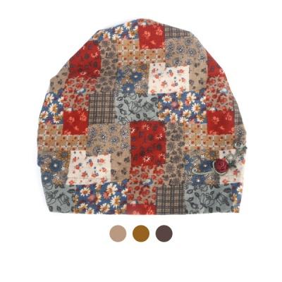 [디꾸보]플라워 배색 두건 밴딩 모자 AC837
