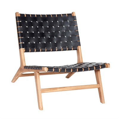 [Hubsch]Chair weaved leather,teak wood,low 314002 가죽의자
