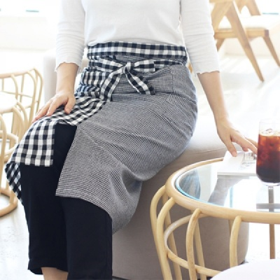 [콩지] 체크 앤 체크 허리 앞치마