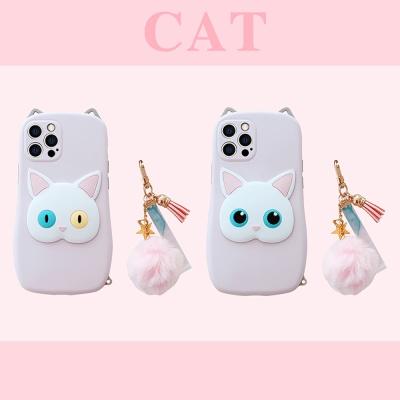 아이폰12 11 pro max xs 8 입체 고양이 스트랩 케이스