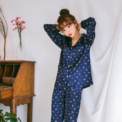 [쿠비카]실키한 체리 프린팅 투피스 여성잠옷 W276