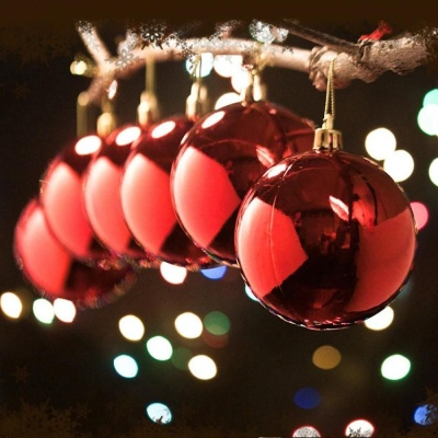 NEW 크리스마스 레드 유광볼(8cm) 6개세트