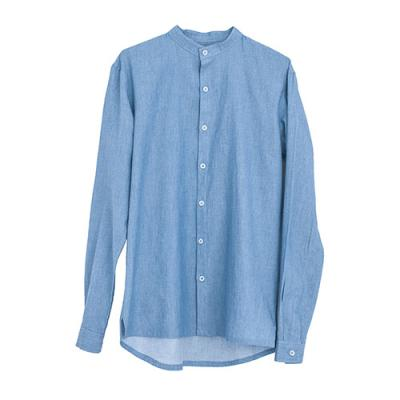 [게타] Getta Denim china collar shirt (Blue)