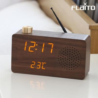 플라이토 우드 LED 클래식 FM 미니 라디오시계 JS-i11