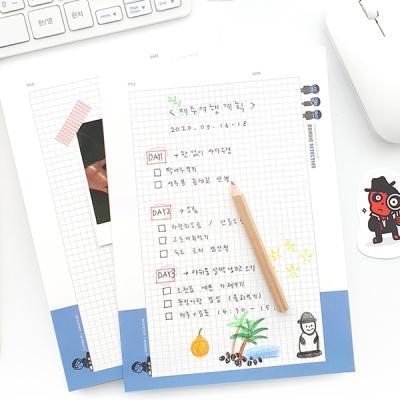제이로그 넉넉한 A5 노트패드-좀비탐정(100매) 2 TYPE