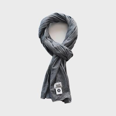 Cotton stripe scarf-Black