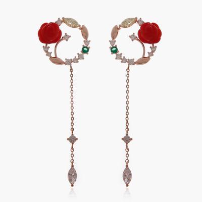 제이로렌 9M02836 로즈리스 산호 장미꽃 드롭귀걸이