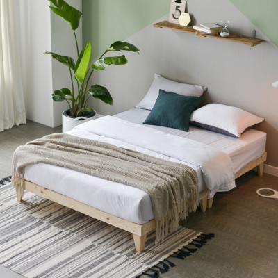 모닝듀 원목 마루형 침대 퀸 (양면매트) OT034