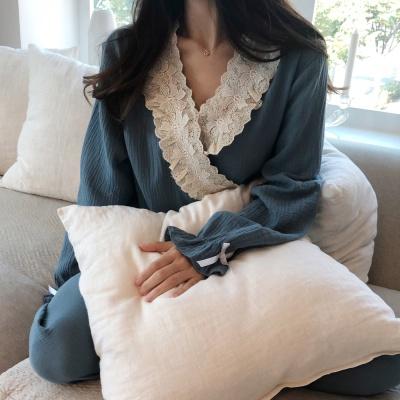 이중겹 요루면 유카타 레이스 파자마 잠옷 세트