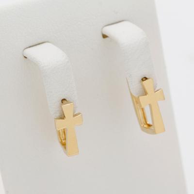 [애슬릿]전체 실버 크롬 십자가 사각 원터치 귀걸이