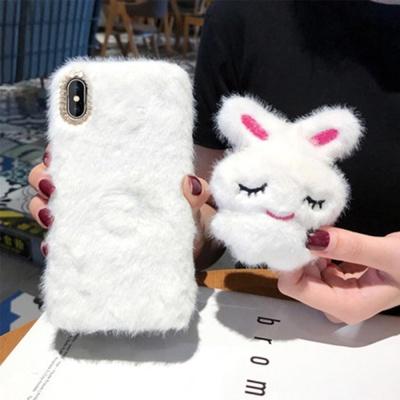 아이폰11 프로 맥스 XR XS 토끼인형 거치대 털 케이스