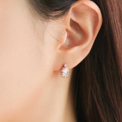 OST 앤틱 화이트 물방울 로즈골드 귀걸이