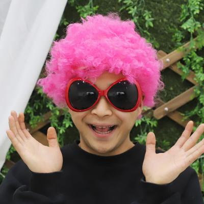 뽀글이 삐에로 가발 (핑크)