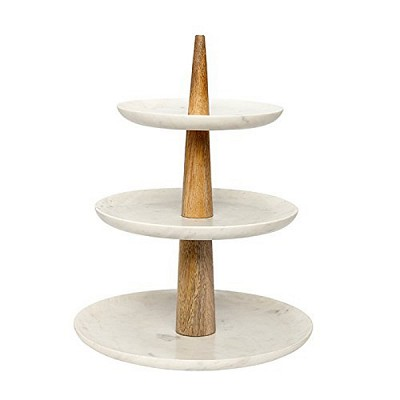 [Hubsch]Etagere w/3 plates, marble/mango wood, white/nature 518003 접시