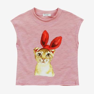 핑크 리본 고양이 민소매 티셔츠 T147