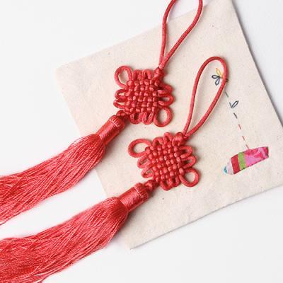 선흥색 전통 매듭 노리개 (2개)