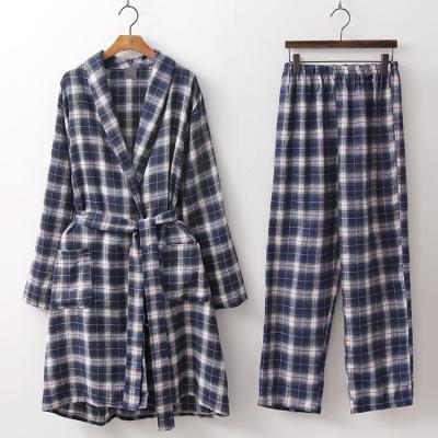 [Set] Check Robe + Wide Pants