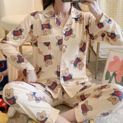 파웅 여성잠옷 곰돌이 긴팔 홈웨어 파자마세트