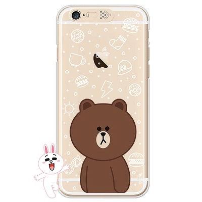 [SG DESIGN]iPhone6/ iPhone6 Plus 라인프렌즈 브라운 LIGHT UP Case-Gold(하드타입/라이팅)