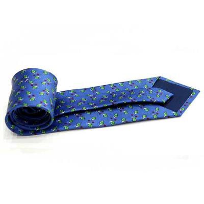 코발트 블루 달팽이 하트 패턴 수동 실크 넥타이