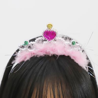 큐빅 깃털 왕관 머리띠