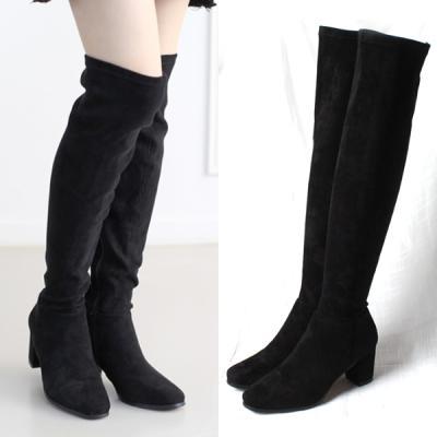 [애슬릿]지퍼 스웨이드 니하이 여성 롱 부츠 7cm