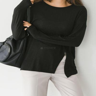 사선트임티셔츠 긴팔 언발랑스 가을 여성 패션
