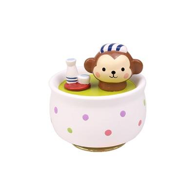 도자기 오르골 목욕하는 원숭이