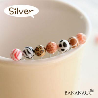 애니멀 콩 귀걸이 Silver (6개 한세트)