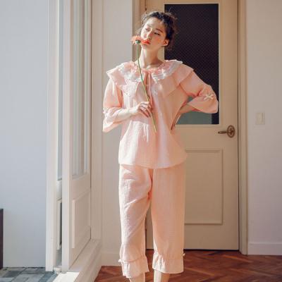[쿠비카]큐티 체크 순면 투피스 7부 여성잠옷 W450