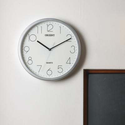 오리엔트 무소음 OT844 실버 모던 인테리어벽시계