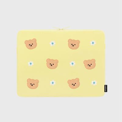 Dot flower bear-yellow-13inch notebook pouch