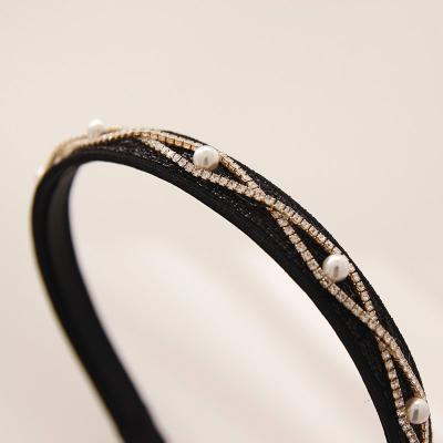 제이로렌 H0520 헤어밴드 큐빅 진주 블랙 머리띠