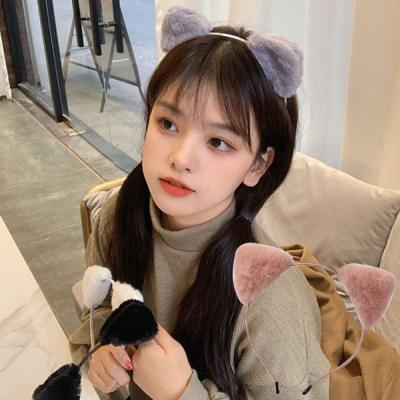고양이 귀여운 페이크퍼 귀 헤어밴드 머리띠