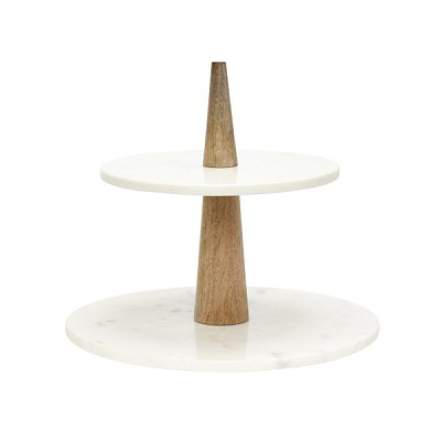 [Hubsch]Etagere w/2 plates, marble, mango wood, white/nature 519002 접시