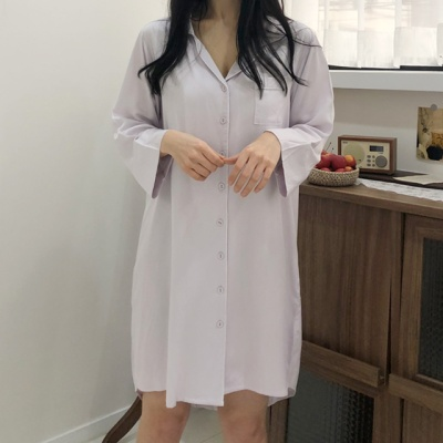 텐셀100% 라벤더 원피스 파자마 잠옷