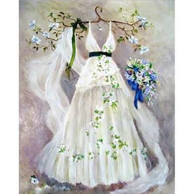 웨딩 드레스 (패브릭) 보석십자수 30x40