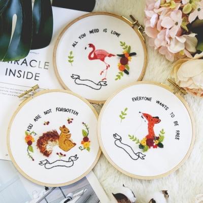 자수의 온도 프랑스자수 DIY 패키지 귀여운 동물 3종