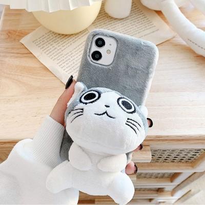 아이폰 12 pro max 미니 고양이 캐릭터 털 케이스