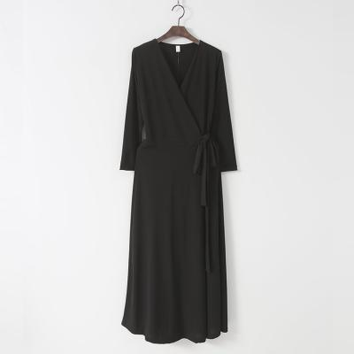 Simple Wrap Long Dress - 긴팔