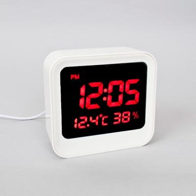 화이트 심플 사각LED 디지털시계