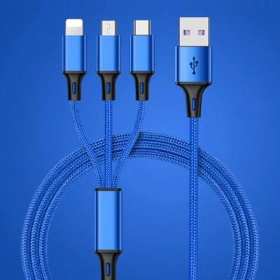 3in1 고속 충전케이블(1.25M)(블루)